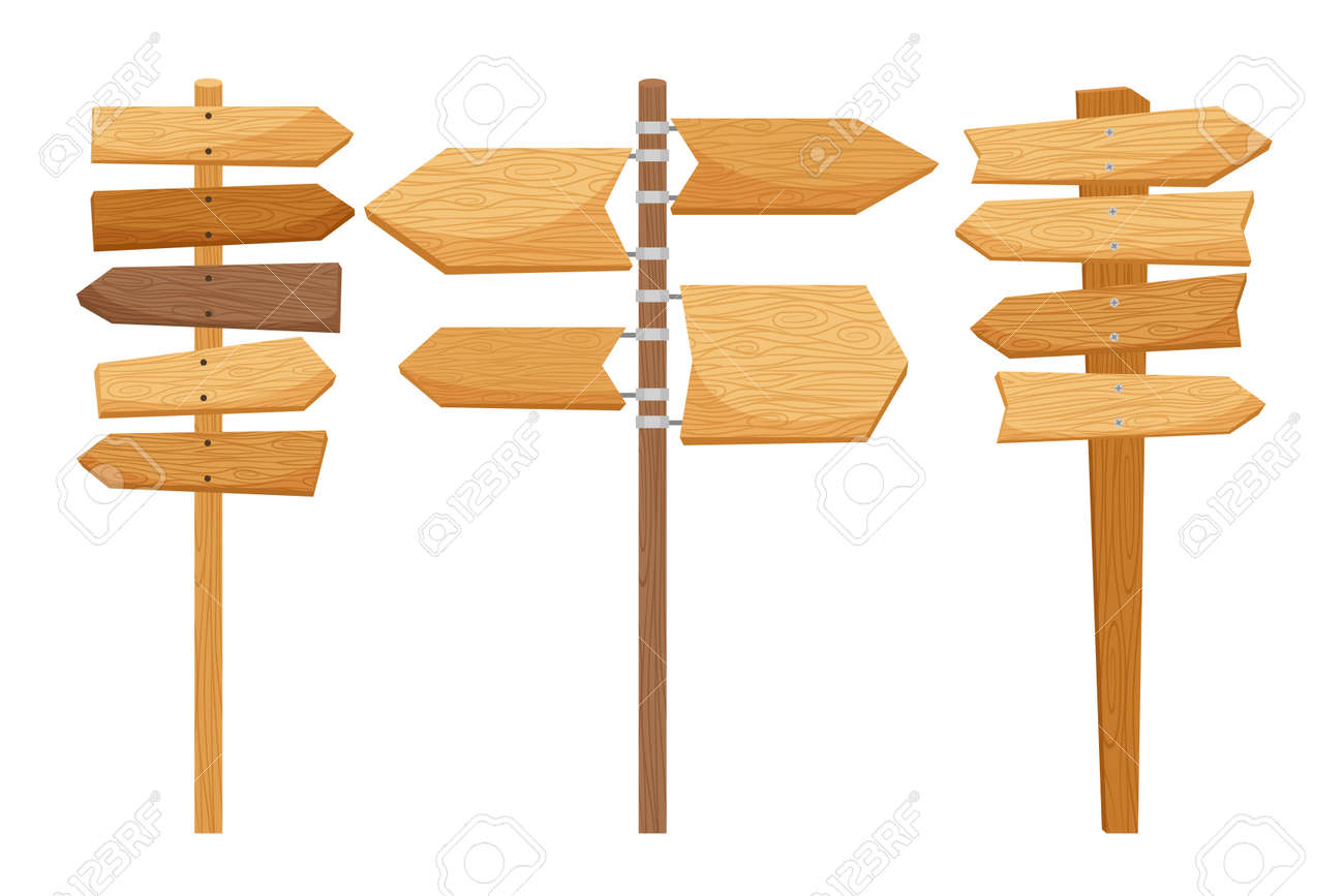 Wooden way direction signs on white background. Vector illustration - 166016651