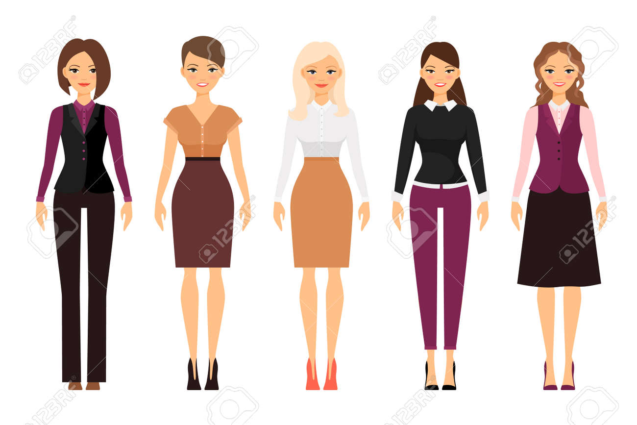 Women in office dress code in violet and beige colors on white background. Vector illustration - 166888158