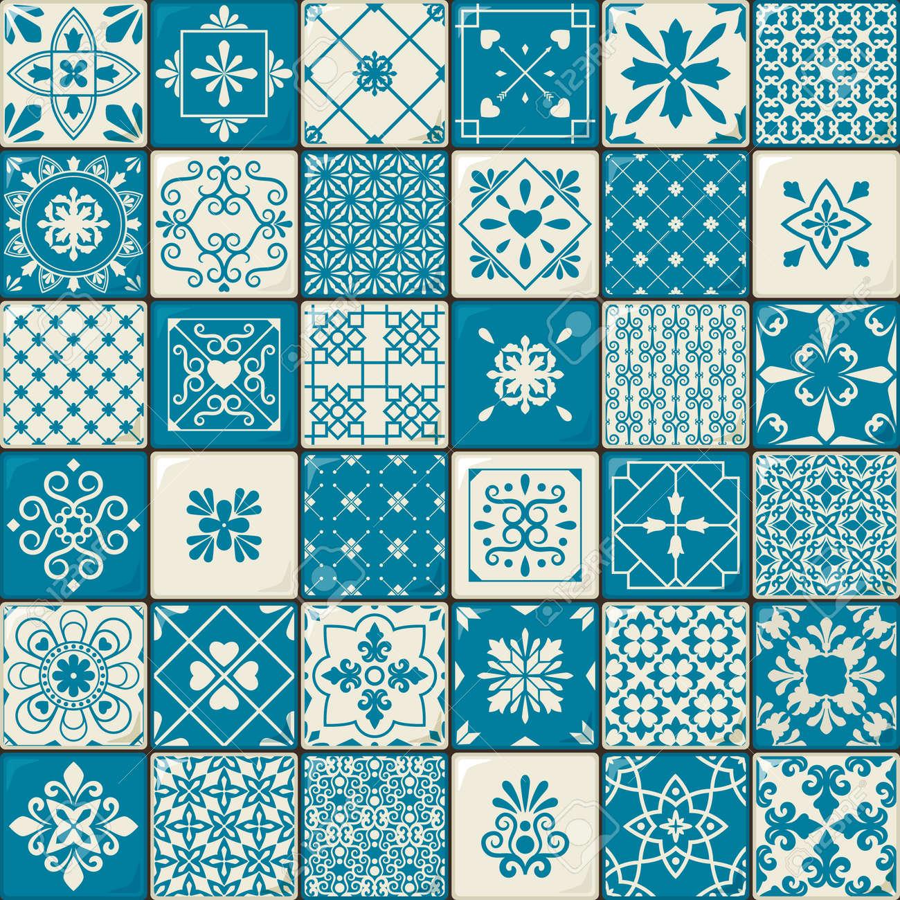 Ceramic tile set. Vintage oriental moroccan style tiles patterns or spanish flowers decorative motifs. Vector illustration - 166882760
