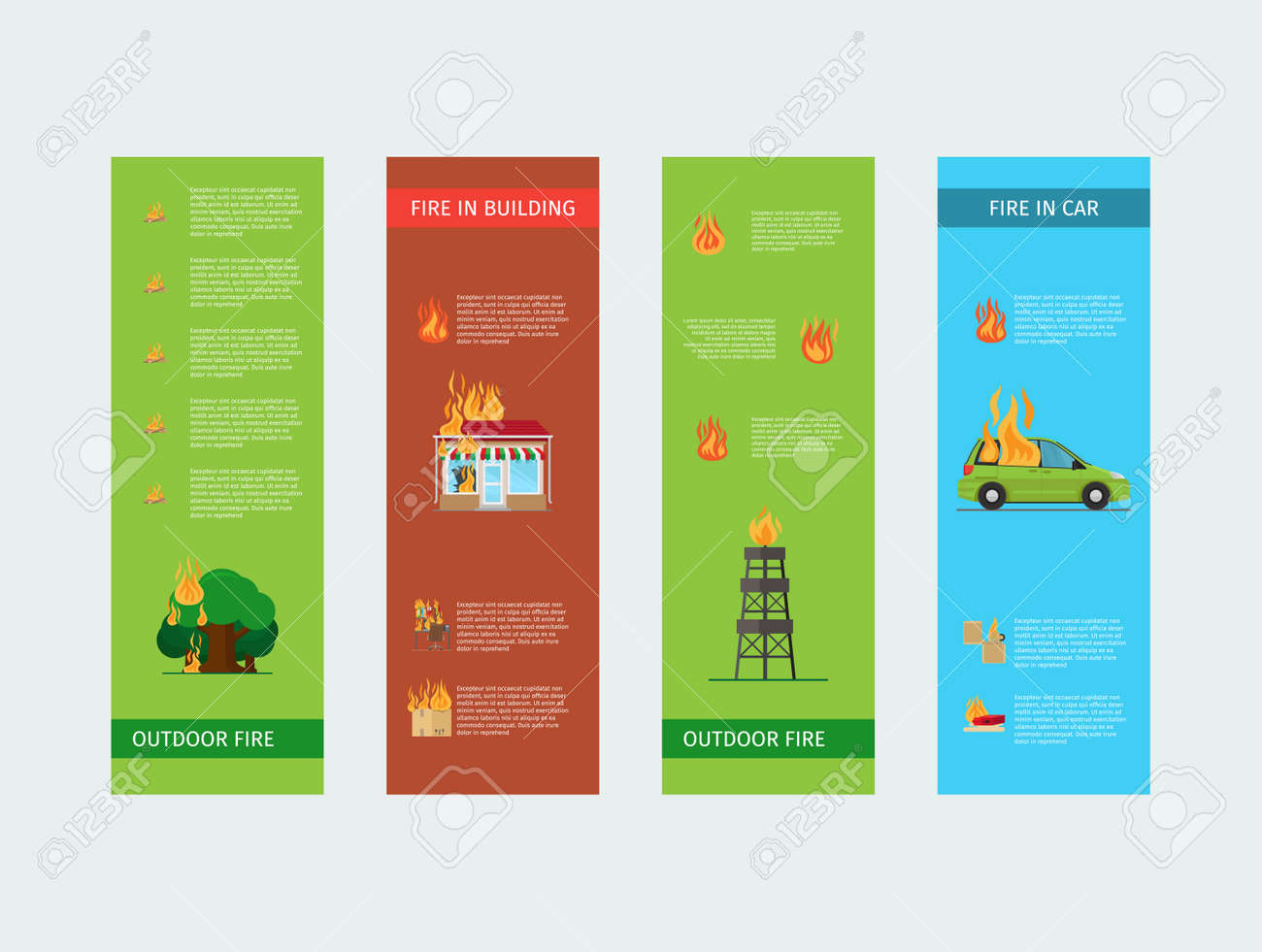 Fire risk vertical flyers. Fire in home and building, outdoor and in the car. Vector illustration - 166883126