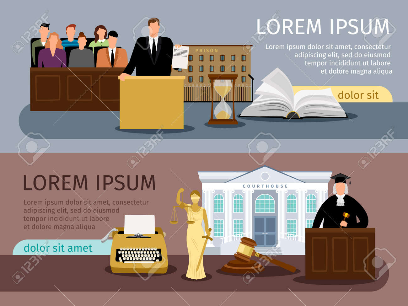 Justice banners. Vector law and courtroom banner set, legal system concept backgrounds - 168234265