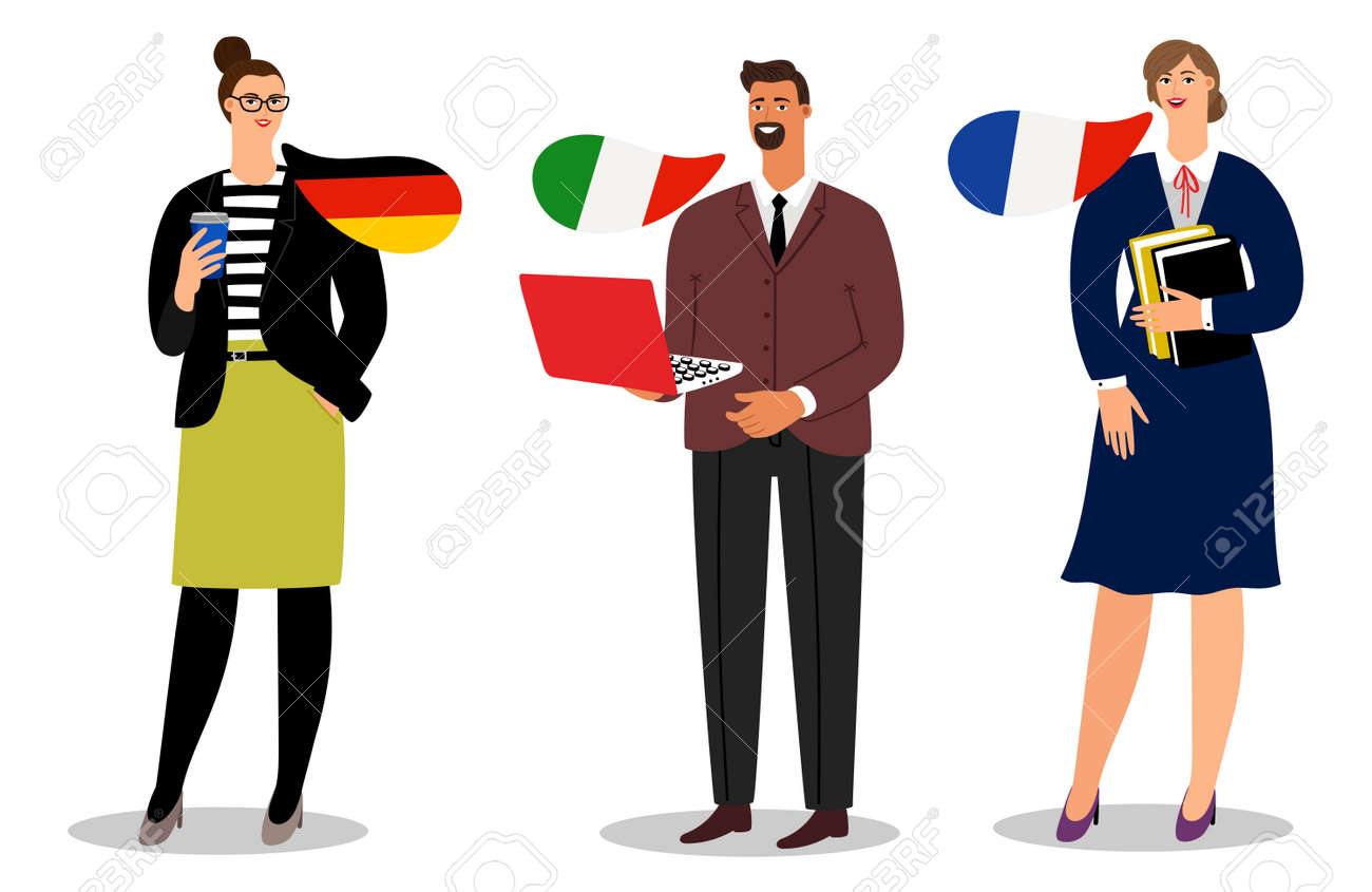 International business team vector isolated on white background. Illustration of business people team, businessman communication italian and french and german - 168240037