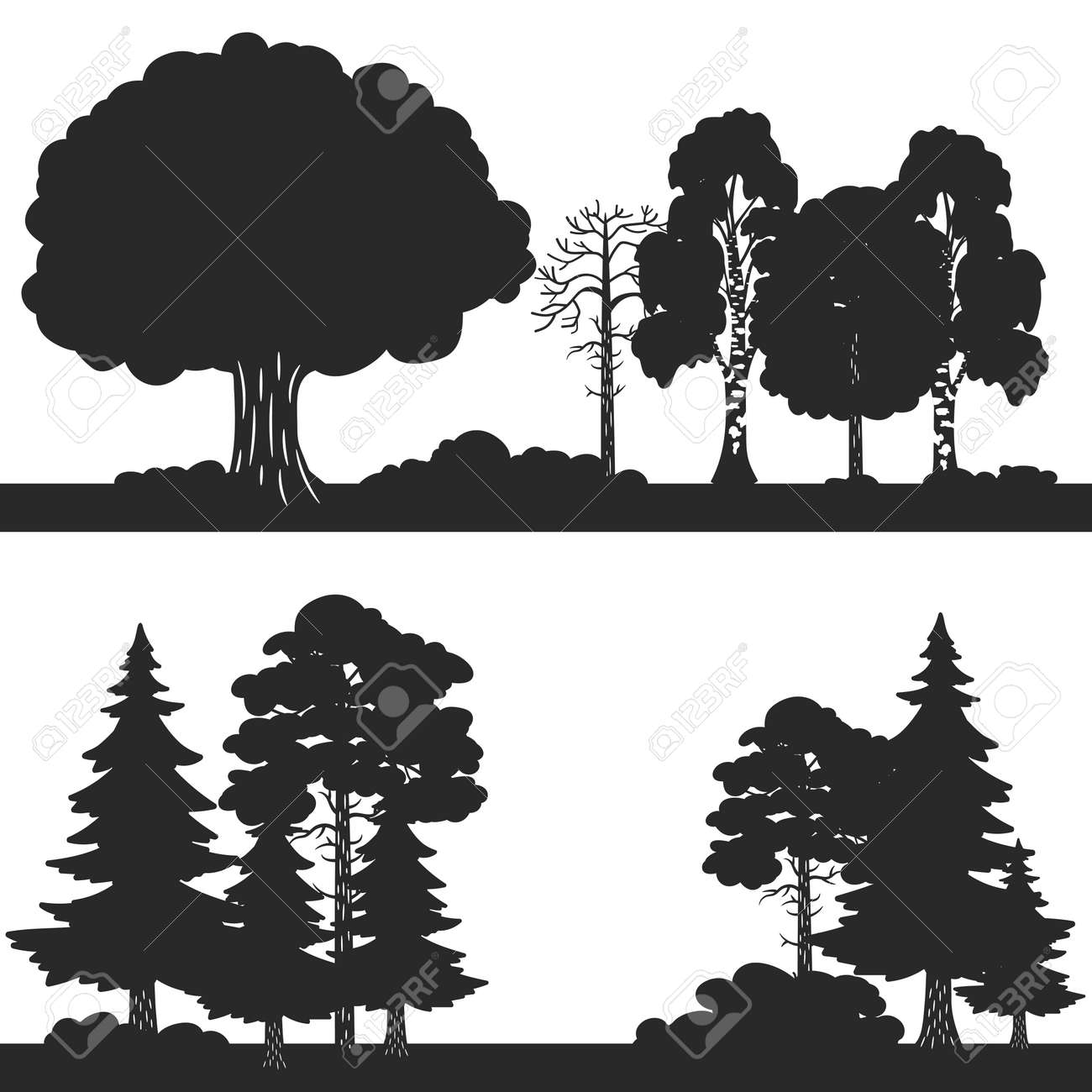 Black vector forest trees silhouettes background. Forest silhouette illustration, wood oak and evergreen - 168239146