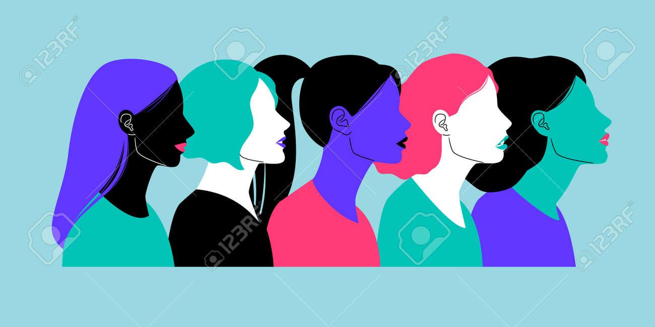 Colorful profiles of face silhouettes - 170222370