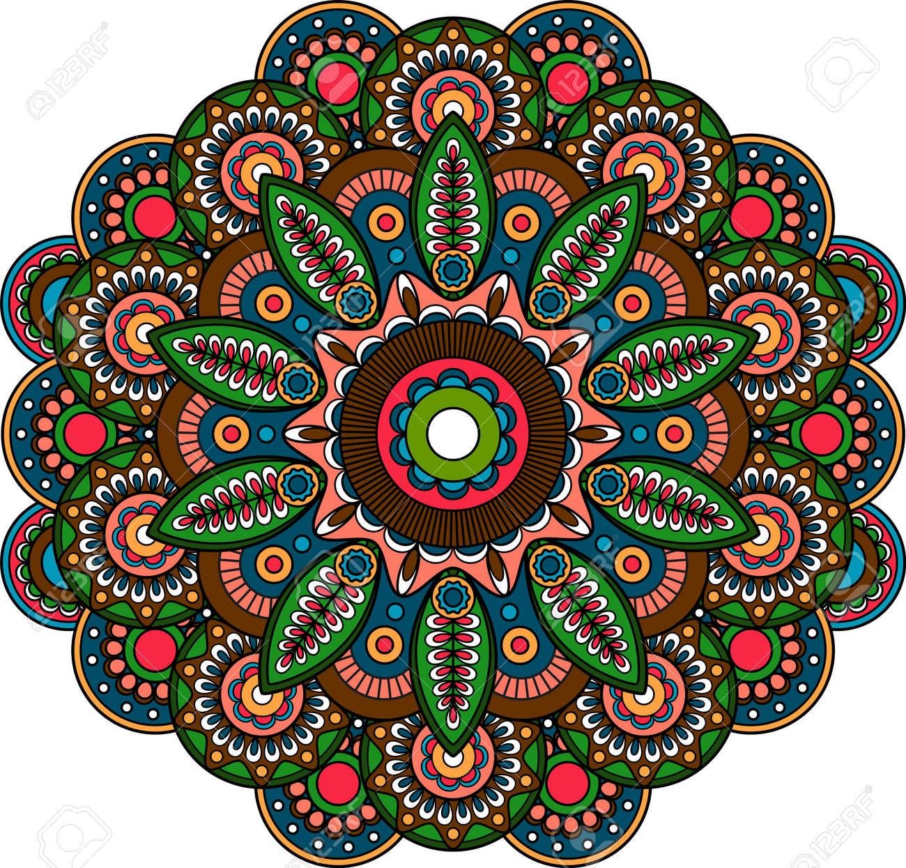 Circular indian bright floral ornament mandala paisley design art - 170995171