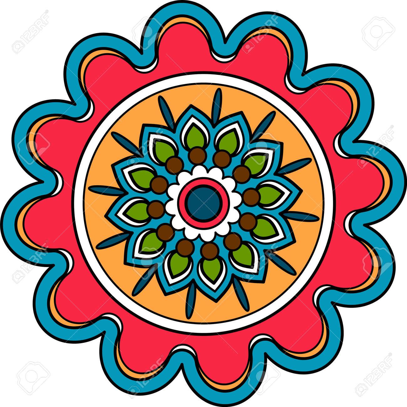 Circular decorative floral element arab round medallion - 170995204