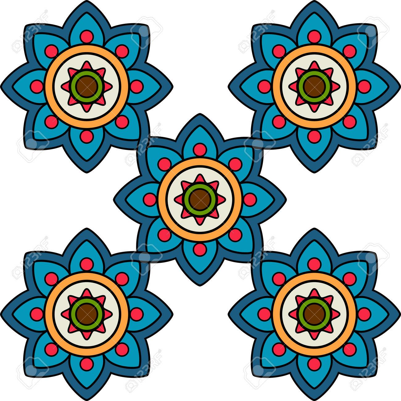 Decorative flower tile pattern geometric mosaic moroccan ceramic ornament - 171052323