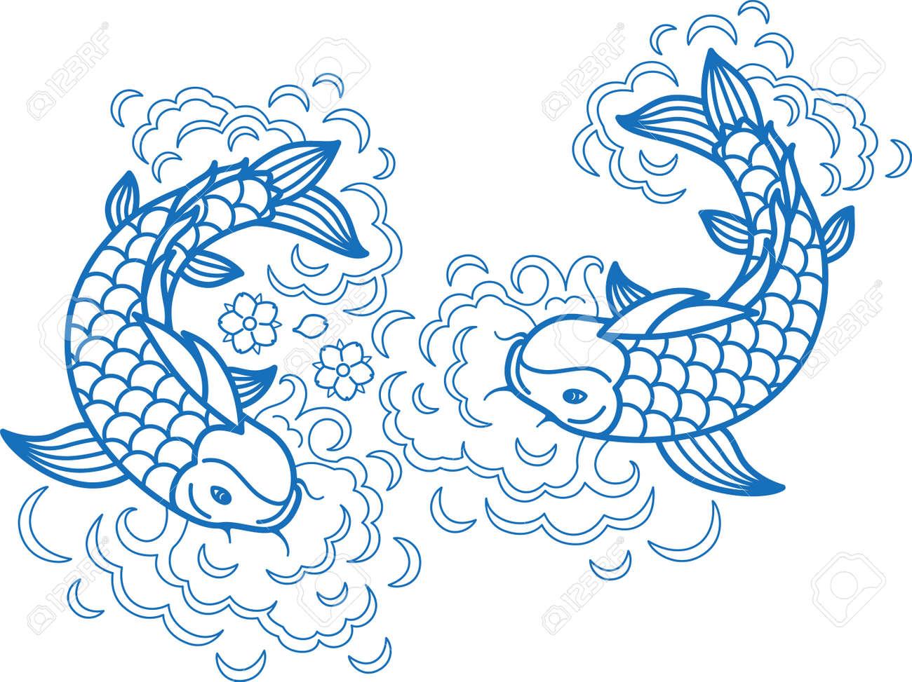 Fish koi art carp line traditional drawing japan goldfish ink element - 171052324