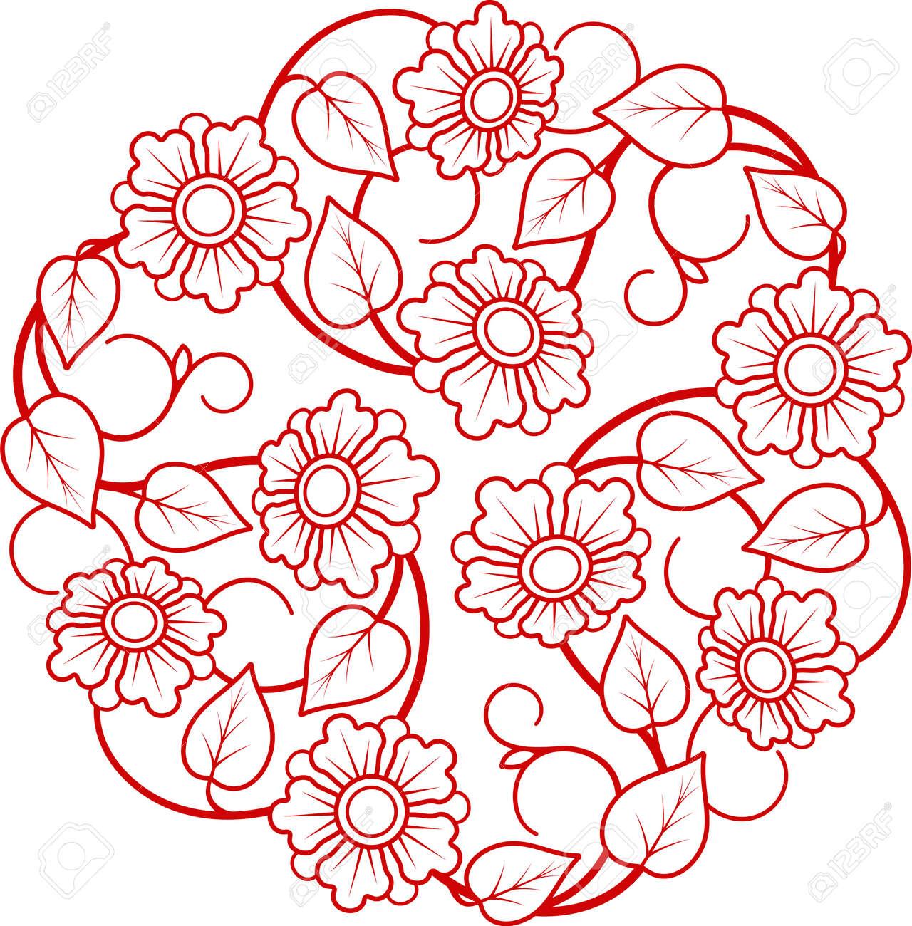 Round ornamental modern flower circle floral design ornament leaf luxury emblem - 170994884