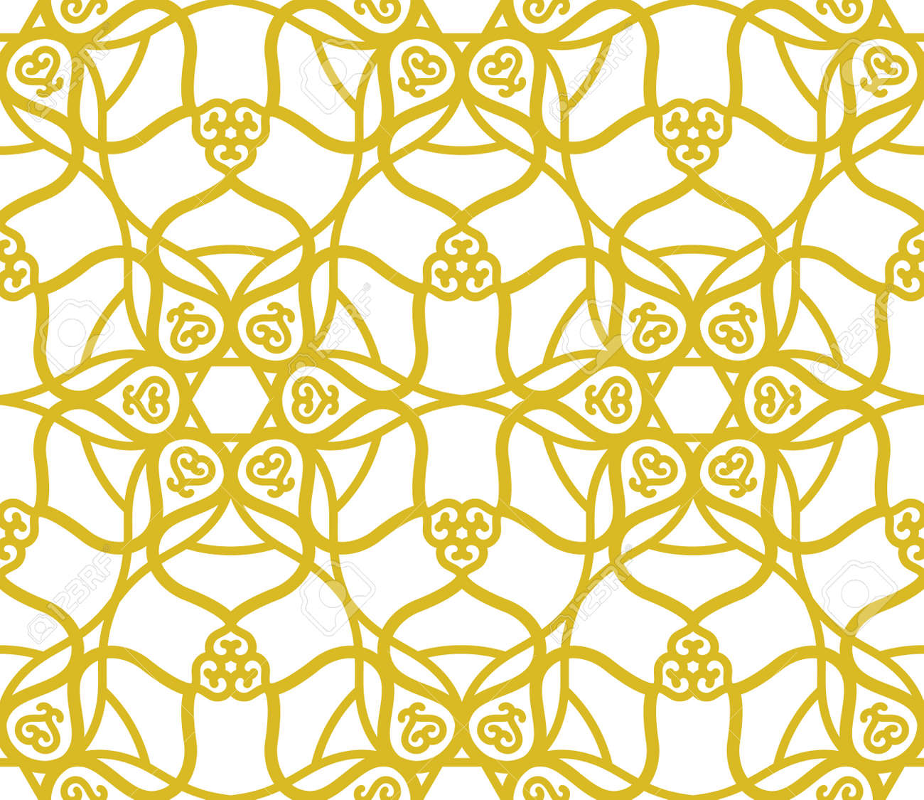 Arabic muslim golden pattern with ramadan islam floral motif - 171052332