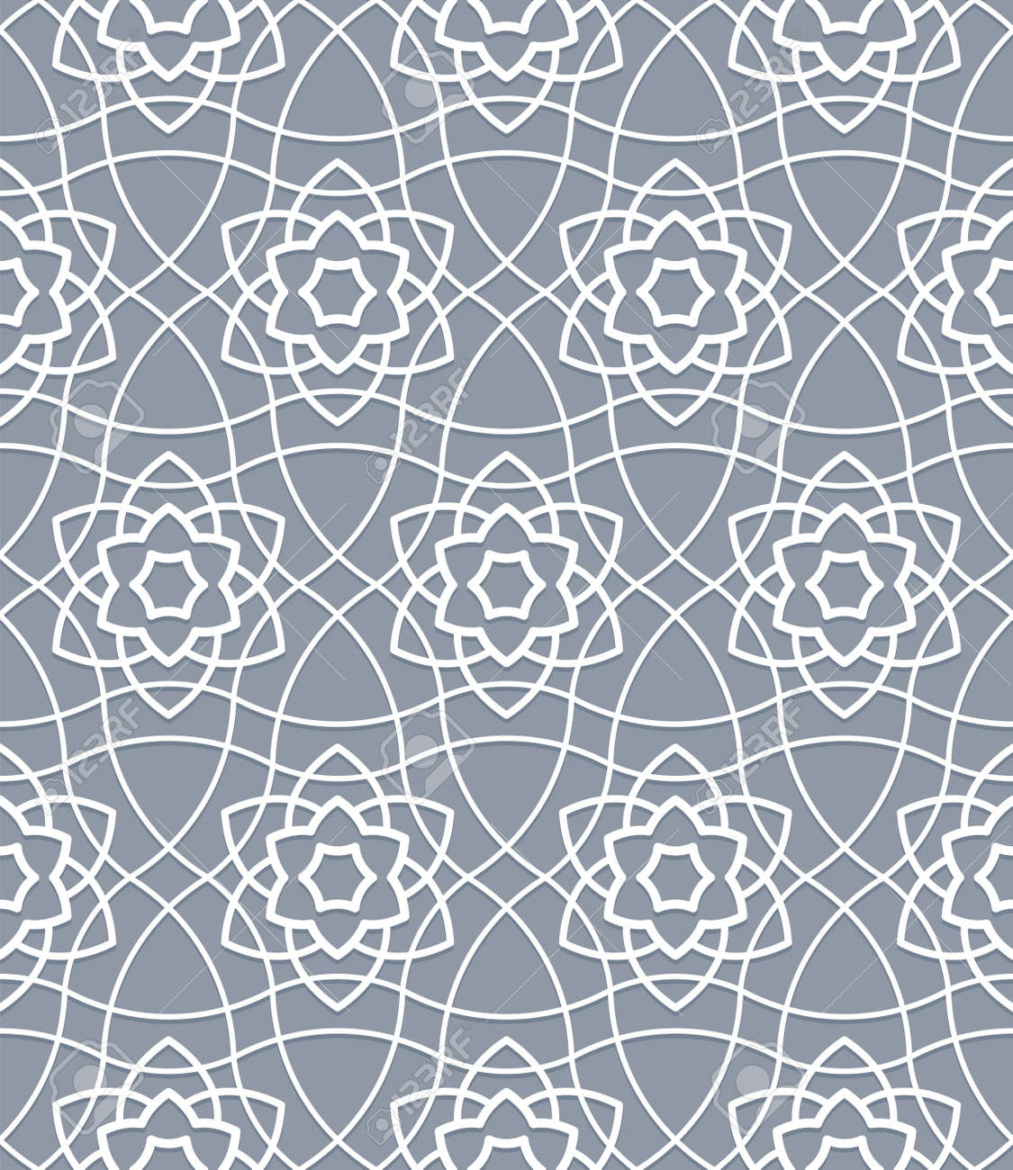 Traditional oriental muslim pattern grid geometric interlaced branches seamless curved ornament - 171000599
