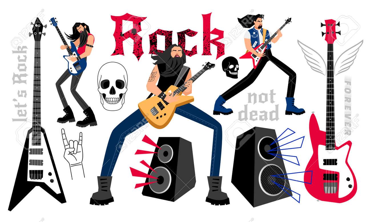 Rockers party cartoon musicians - 171345003