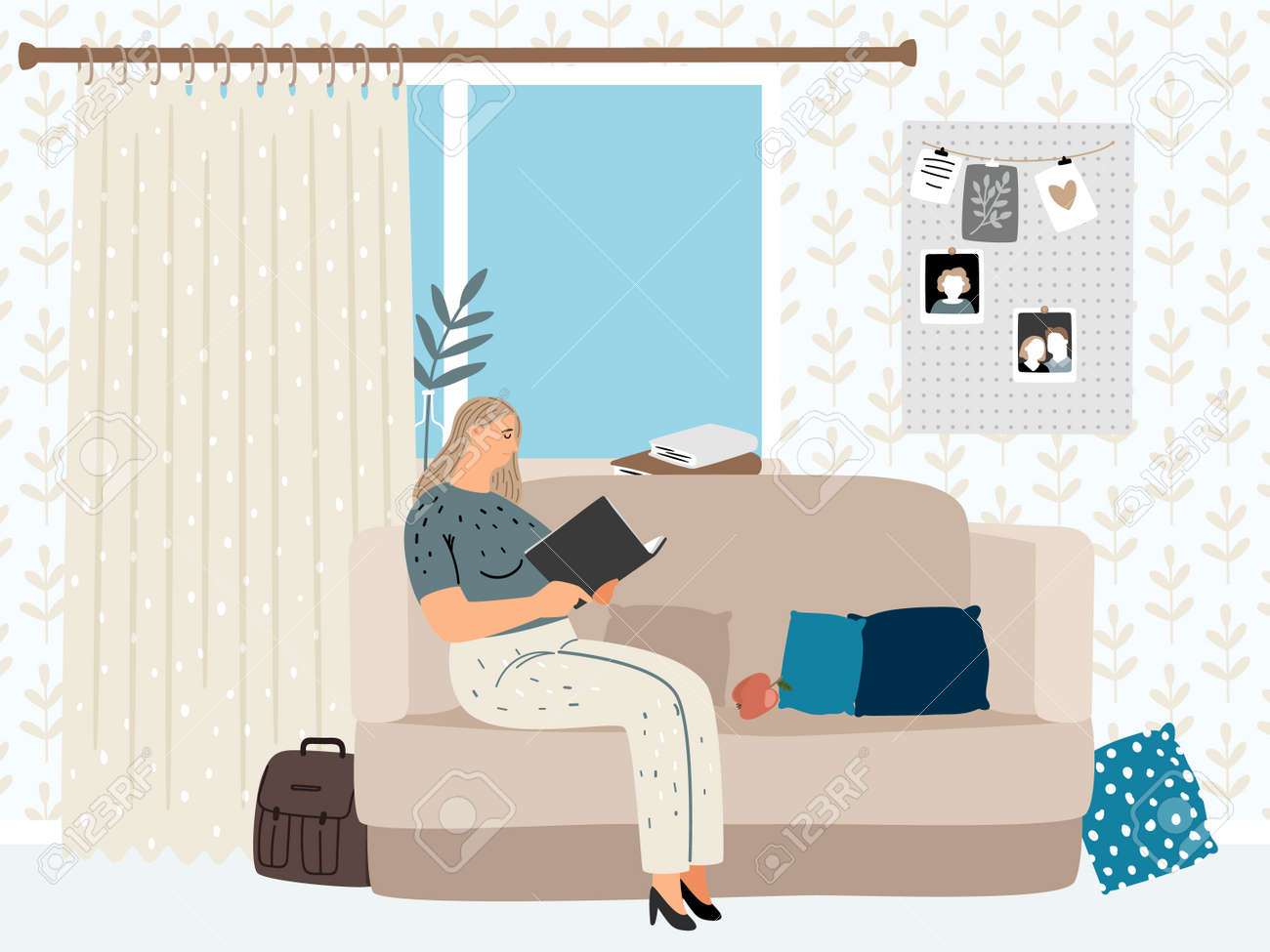 Girl reading in cozy living room - 171256935