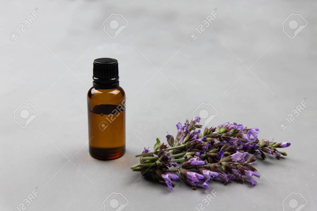Dark amber glass bottle full of Essential oil and clary sage flowers, salvia sclarea, for aromatherapy. Naturopathy, wildflowers extract fragrance - 147825467