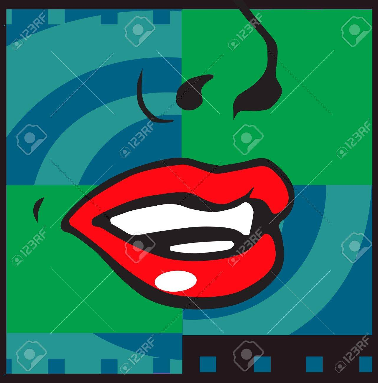 Abstract drawing in the form of zigzag and lips Stock Photo - 6423138