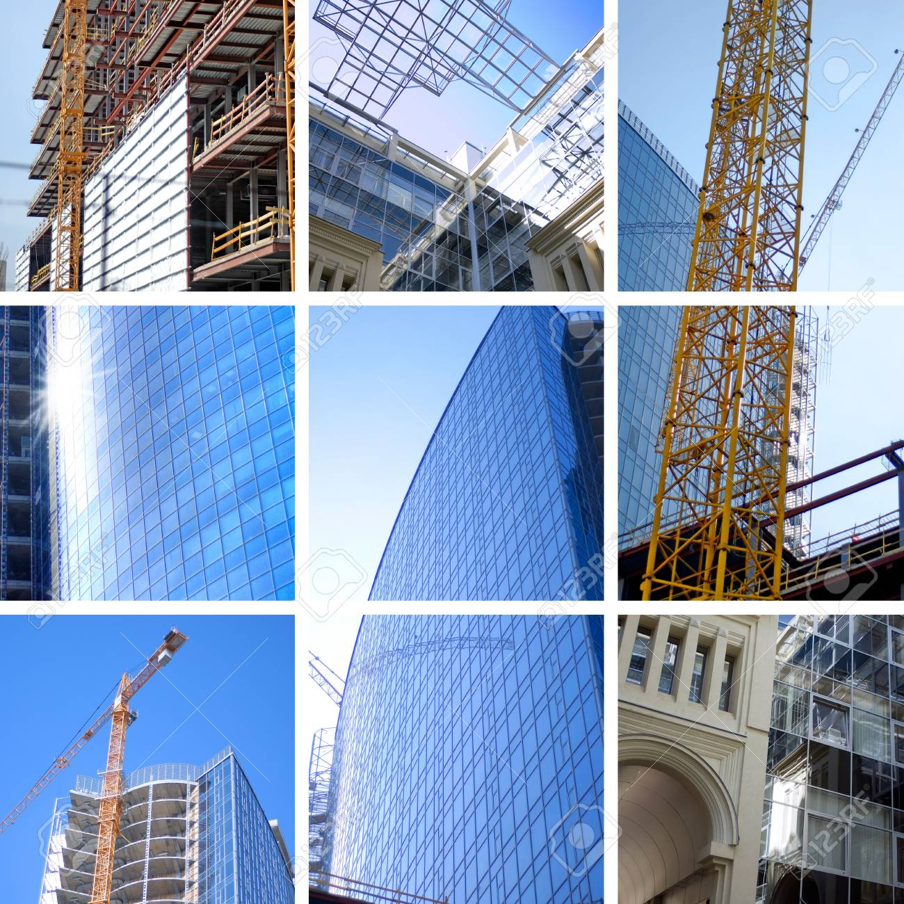 collage of construction of modern skyscrapers and building crane Stock Photo - 6995794