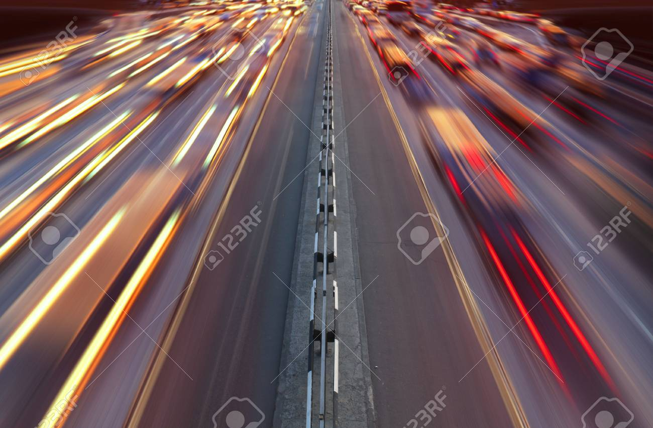 Night time traffic on highway in Kiev city Stock Photo - 7410620