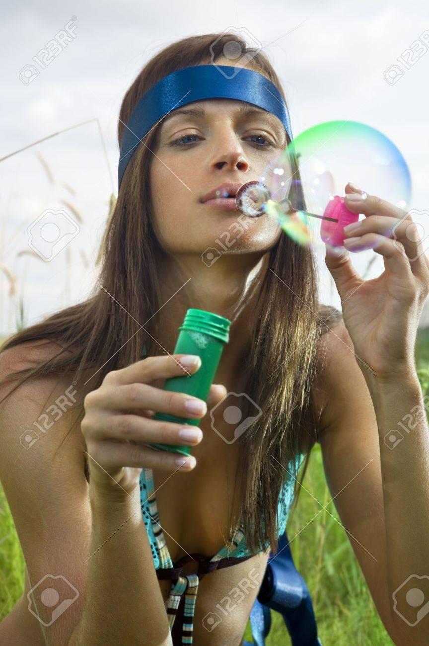 Blowing Soap Bubbles History Woman Blowing Soap Bubbles