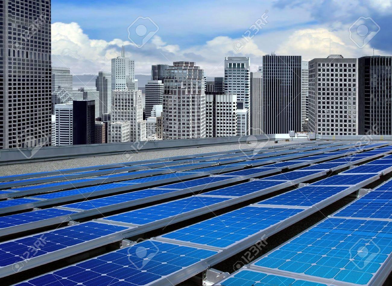 solar panels on the roof of modern skyscraper Stock Photo - 7885173
