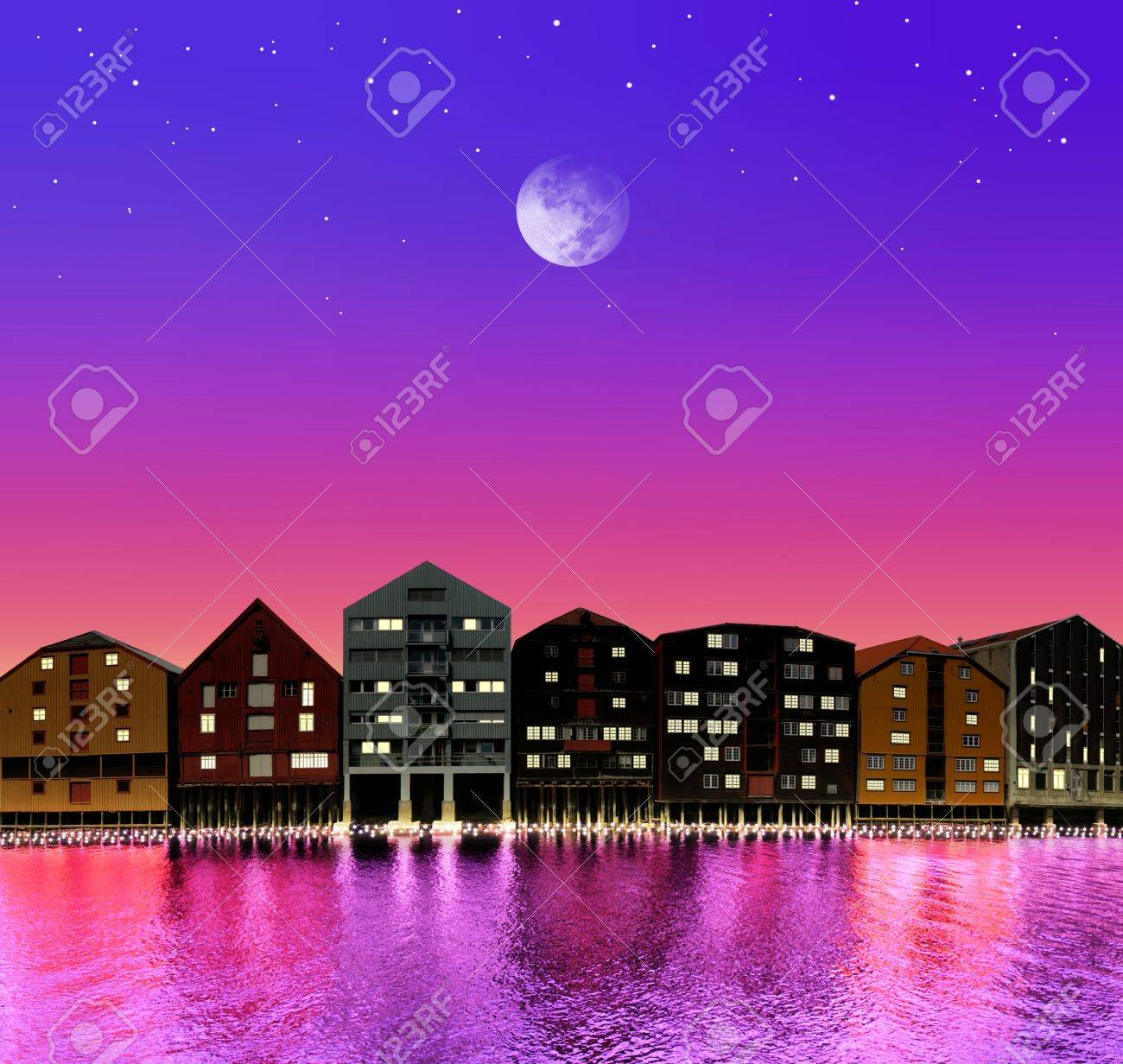 silhouette of fairytale town on night sky in the bright of the moon Stock Photo - 7885143