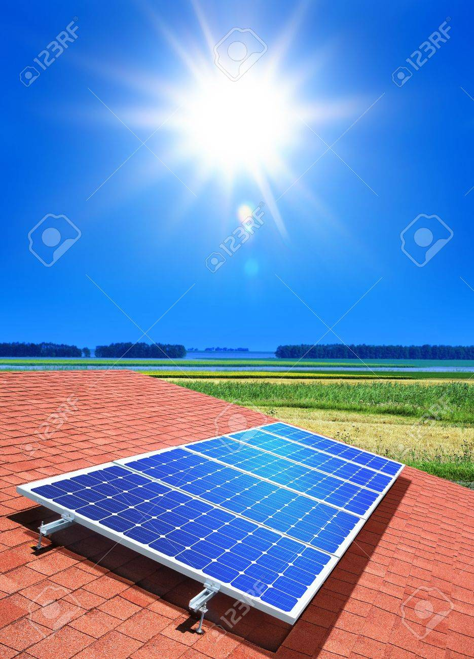solar-cell array on the roof of private home Stock Photo - 7885180
