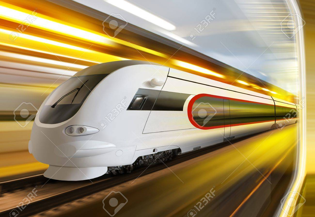 super streamlined train with motion blur moves in tunnel Stock Photo - 8983680