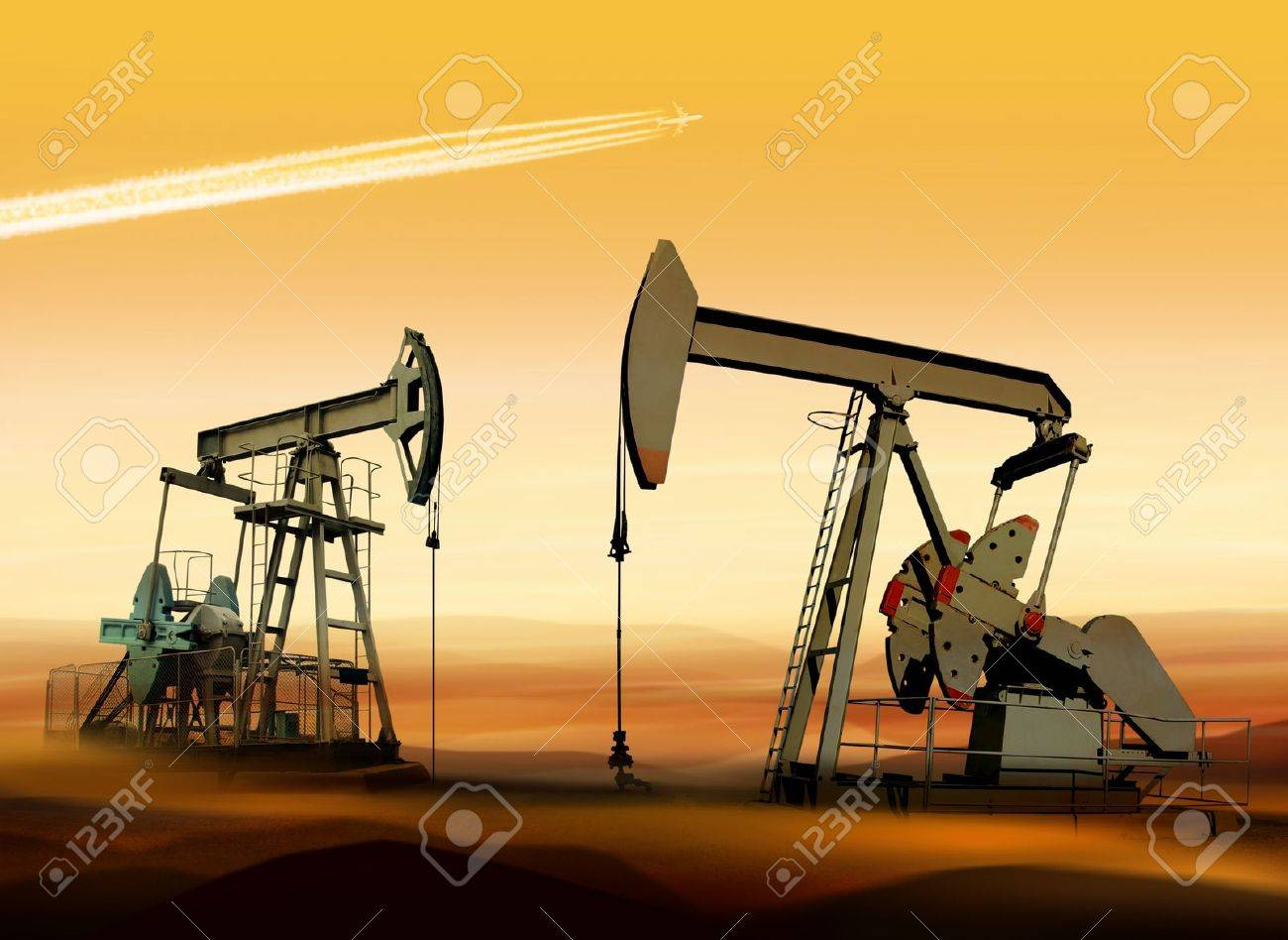 Working oil pumps in desert place of Middle East Stock Photo - 9054579