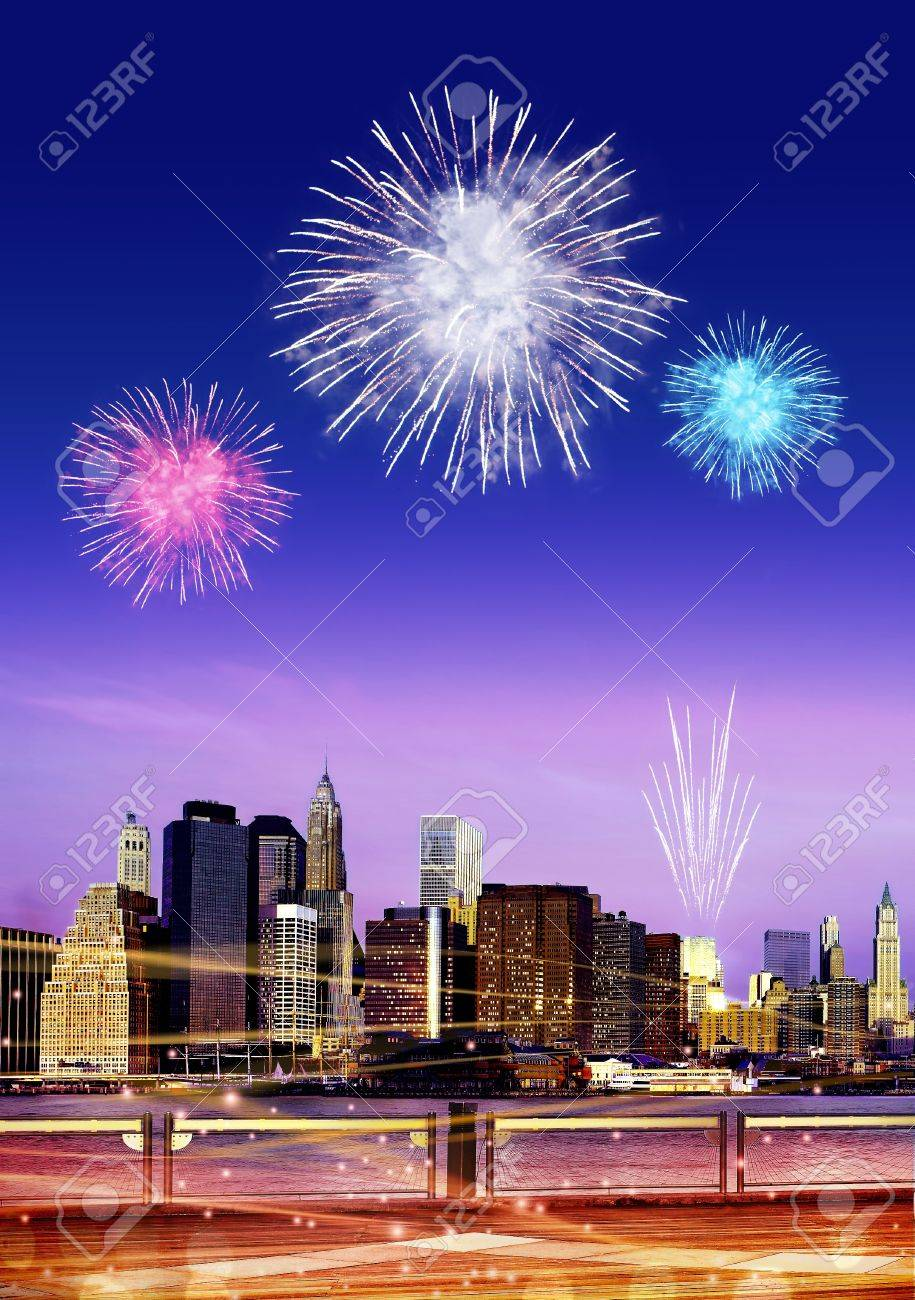Downtown Brooklyn skyline with fireworks in New York City at night - 15809564