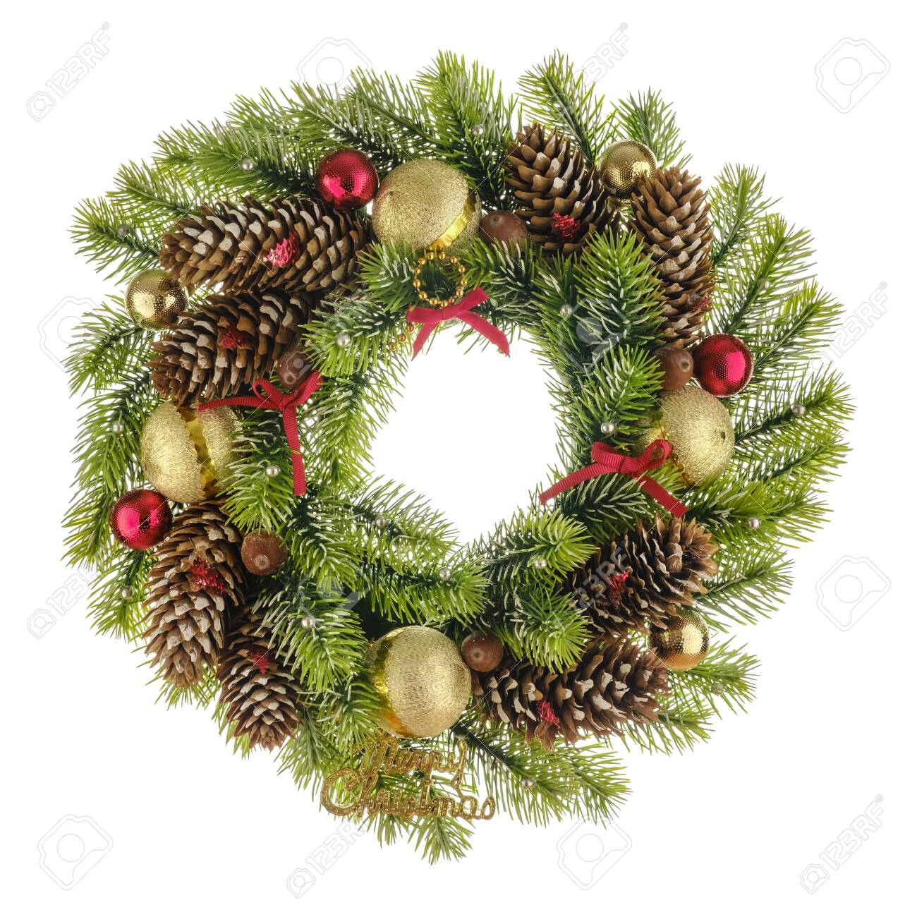 Christmas Composition With Wreath Made Of Christmas Tree Branches Bows Stock Photo Picture And Royalty Free Image Image 133321068