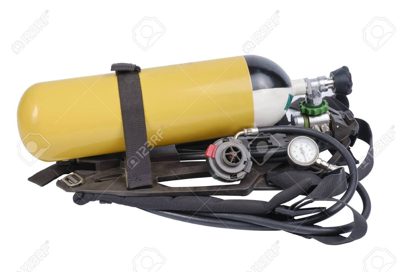 Breathing Air Cylinder Assembly for firefighters isolated on white background - 135679426