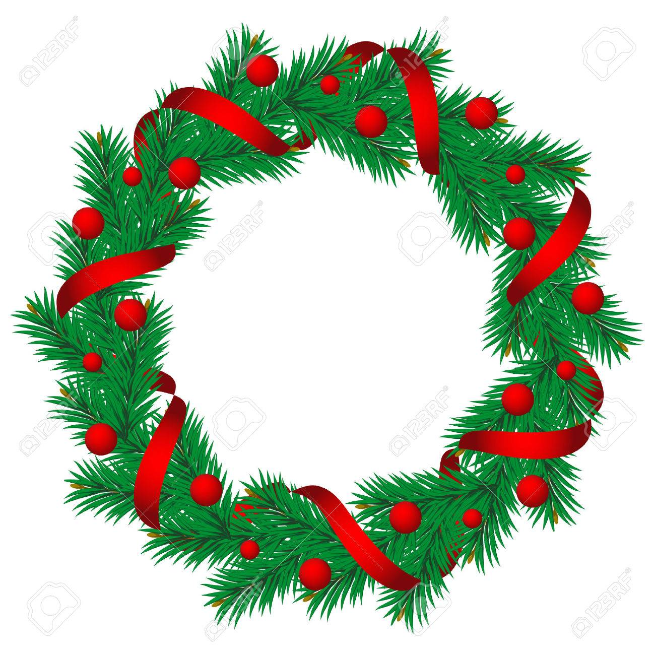 Christmas Pine Garland.Christmas Pine Garland Decorated With Red And Golden Ribbons