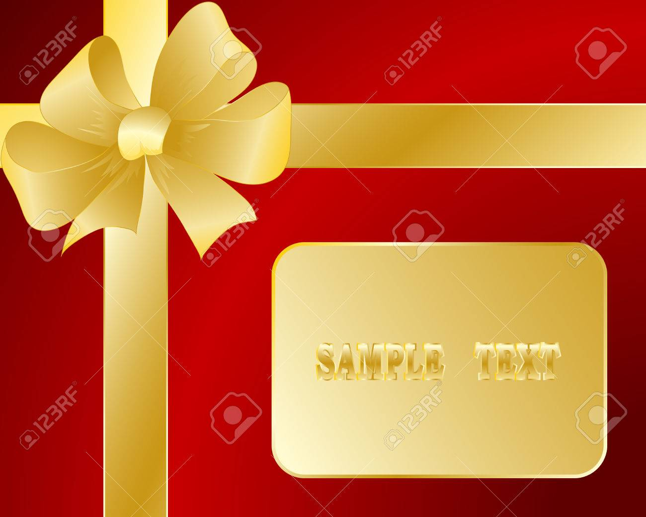Gift card with a bow and a tape Stock Vector - 8259488