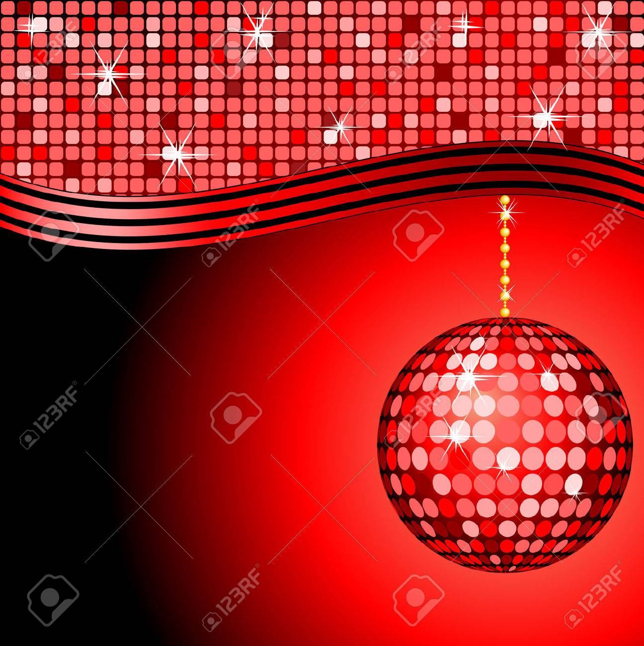 abstracte rode disco bal op een rode mozaà ek achtergrond royalty