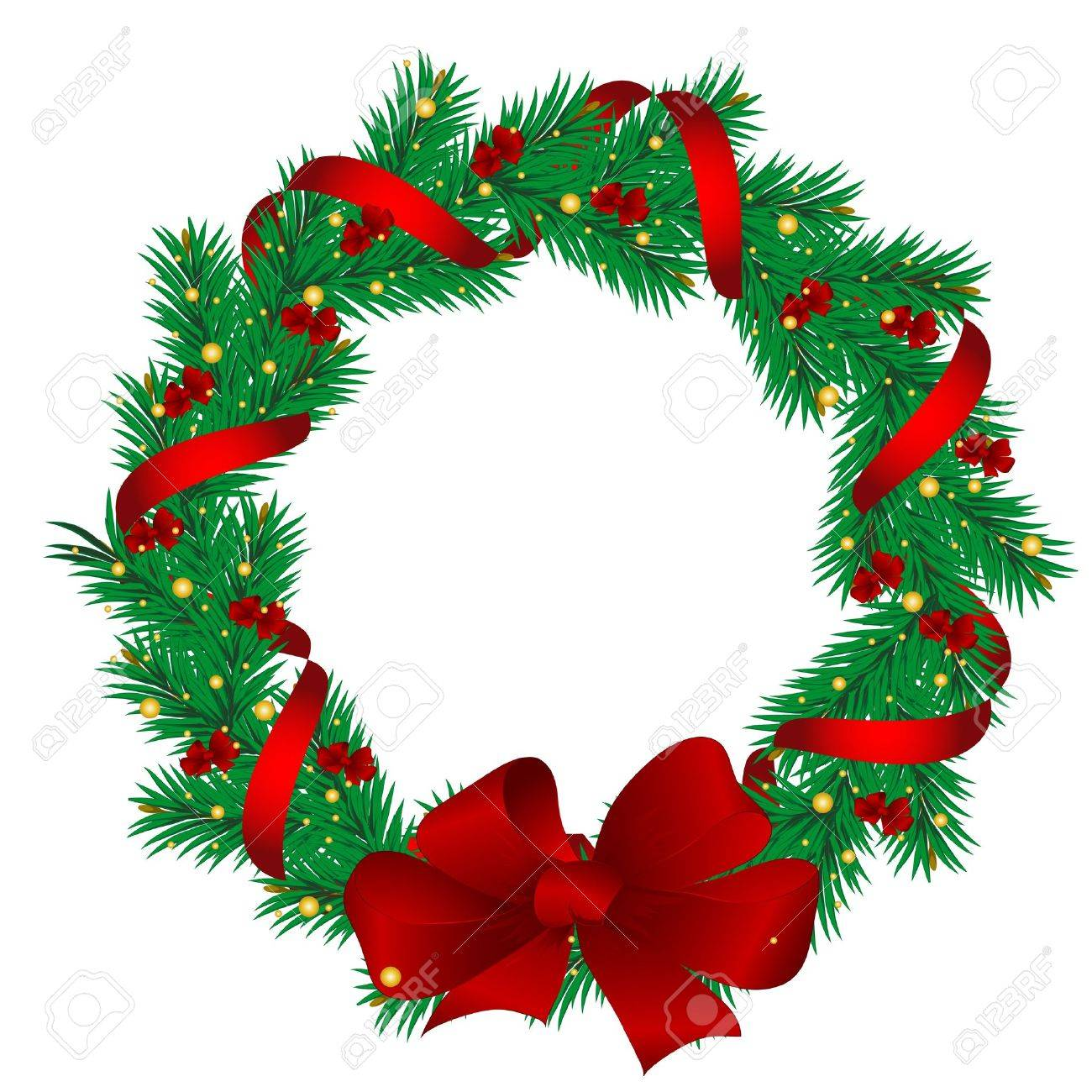 Christmas Garlands.Christmas Garlands Of The Pine Decorated With Red Tapes