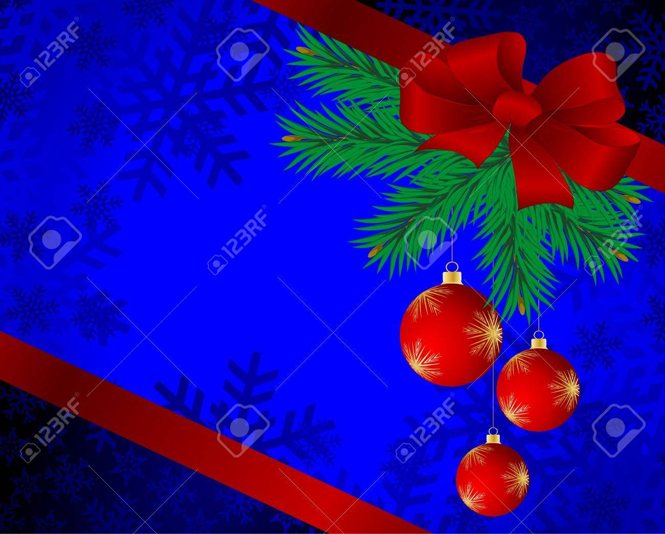 Christmas background with spheres and fur-tree branches. Stock Vector - 16267409