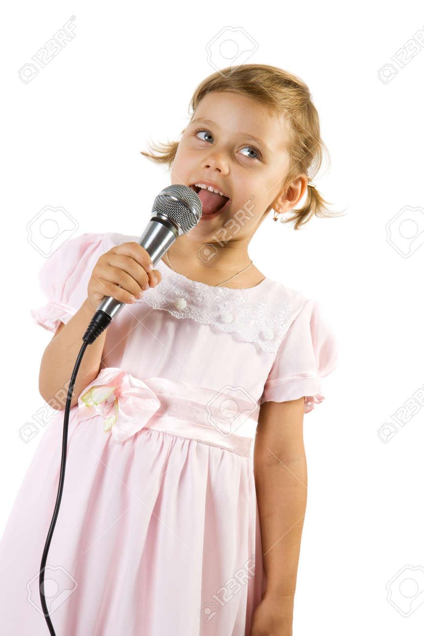 Little girl singing. Isolate on white background. Stock Photo - 1585140