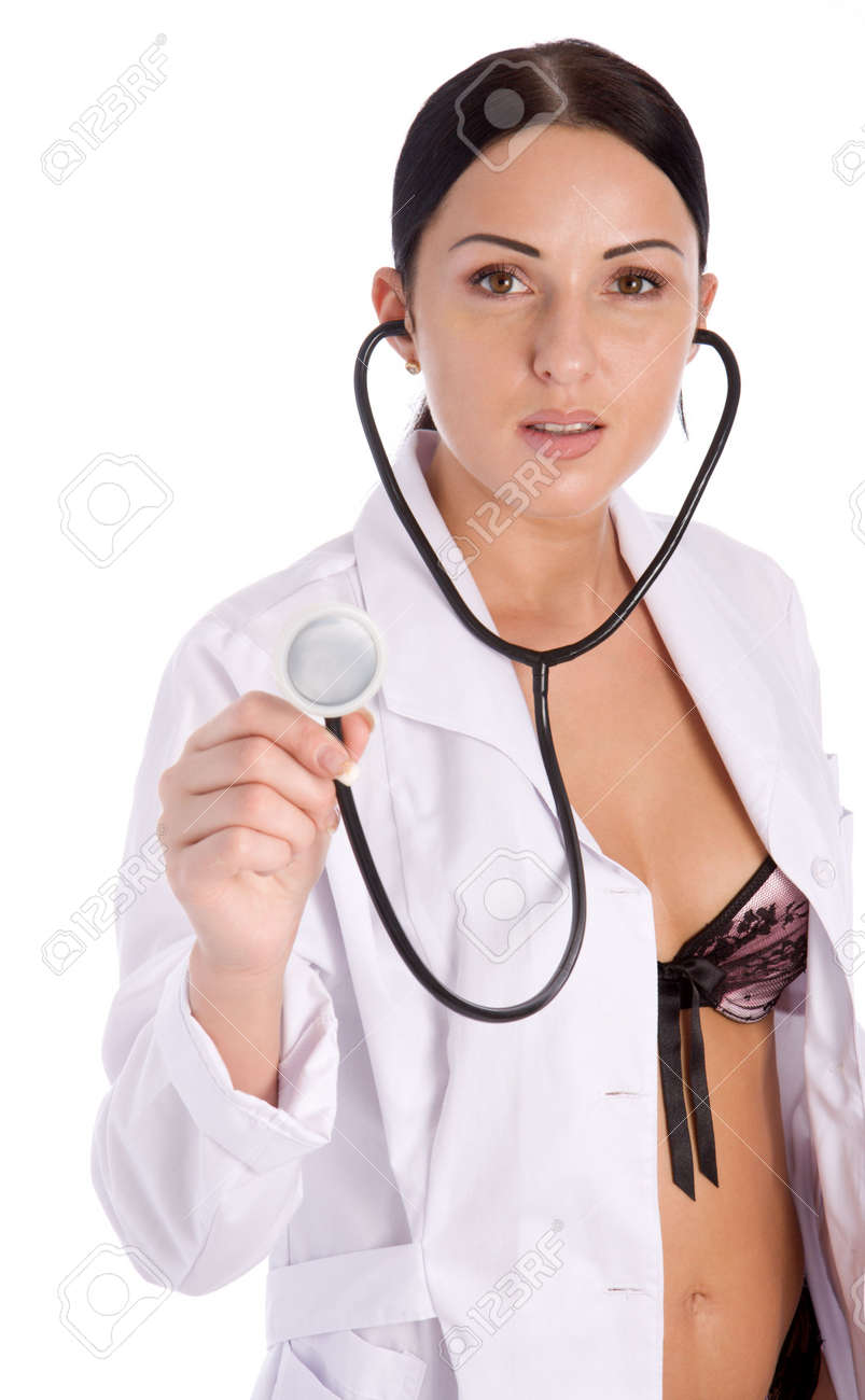 Pretty female doctor holding stethoscope isolated on white background Stock Photo - 3092973