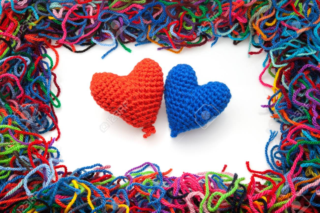 woolen picture with colors hearts Stock Photo - 16562934