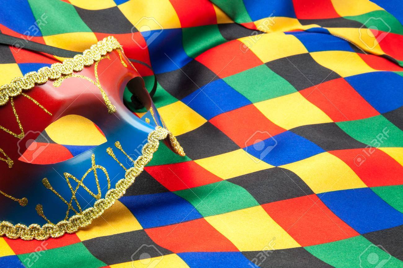 mask and cloth of harlequin for a disguise Stock Photo - 24444462
