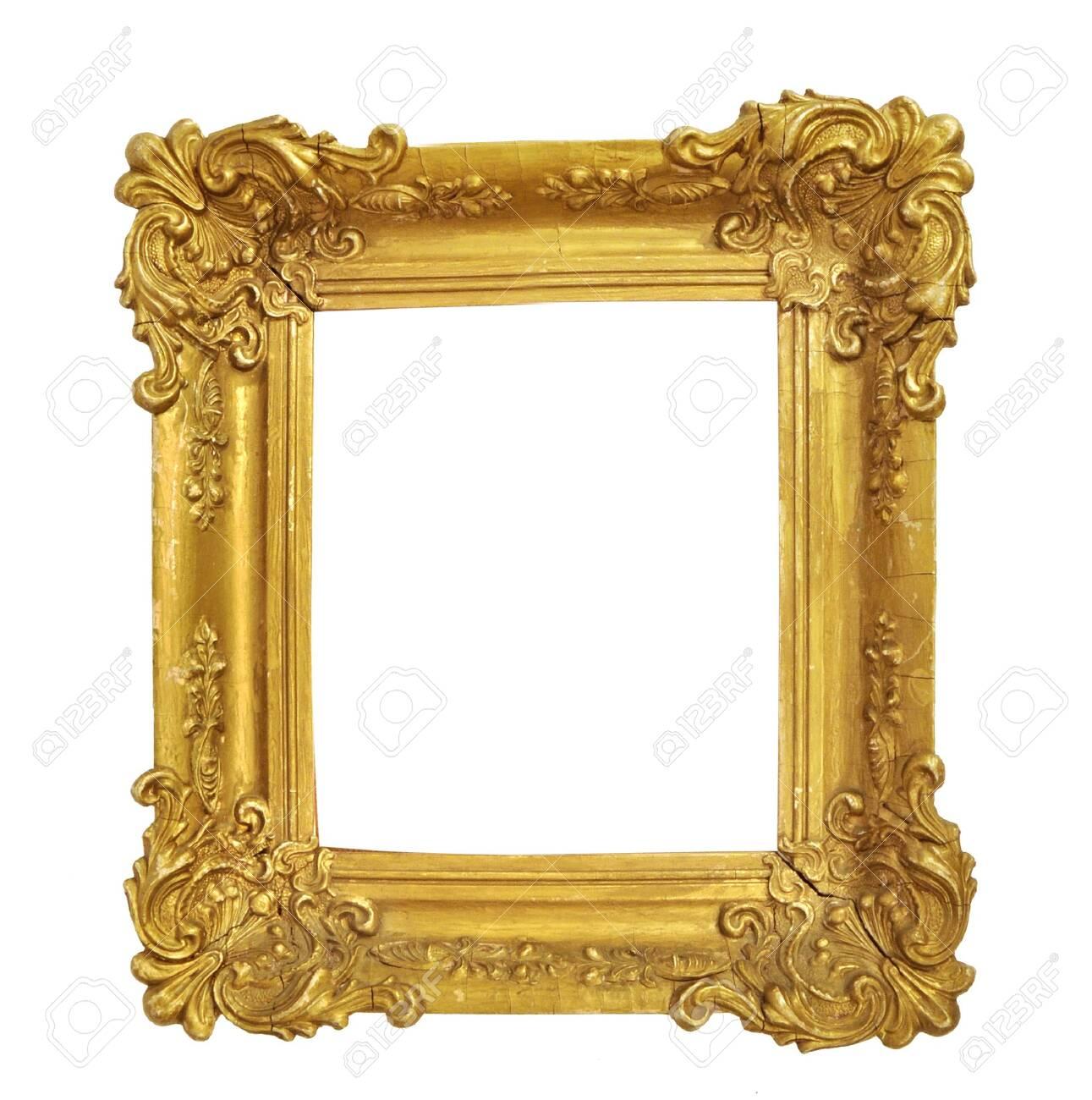 Isolated Photo Frame, Little Golden Antique Photo Frame, Vintage Frame. - 135894245