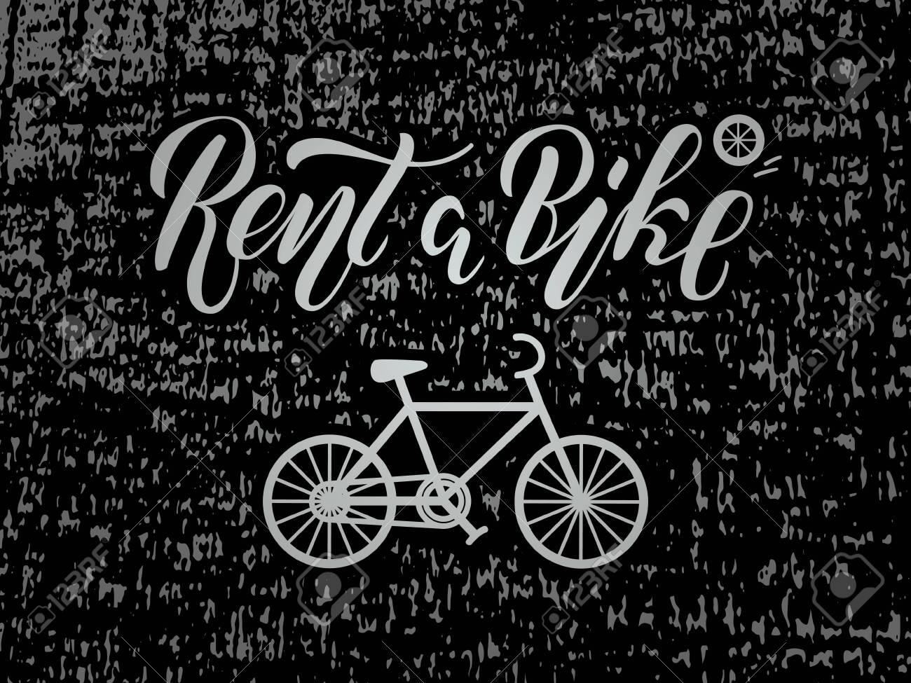 Vector illustration of rent a bike brush lettering for banner, leaflet, poster, clothes, logo, advertisement design. Handwritten text for template, signage, billboard, printing, price list, flyer - 137531340