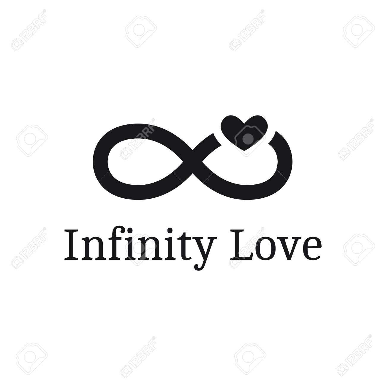 b14a7c73b0447 Vector infinity sign with heart logotype. Modern romantic logo