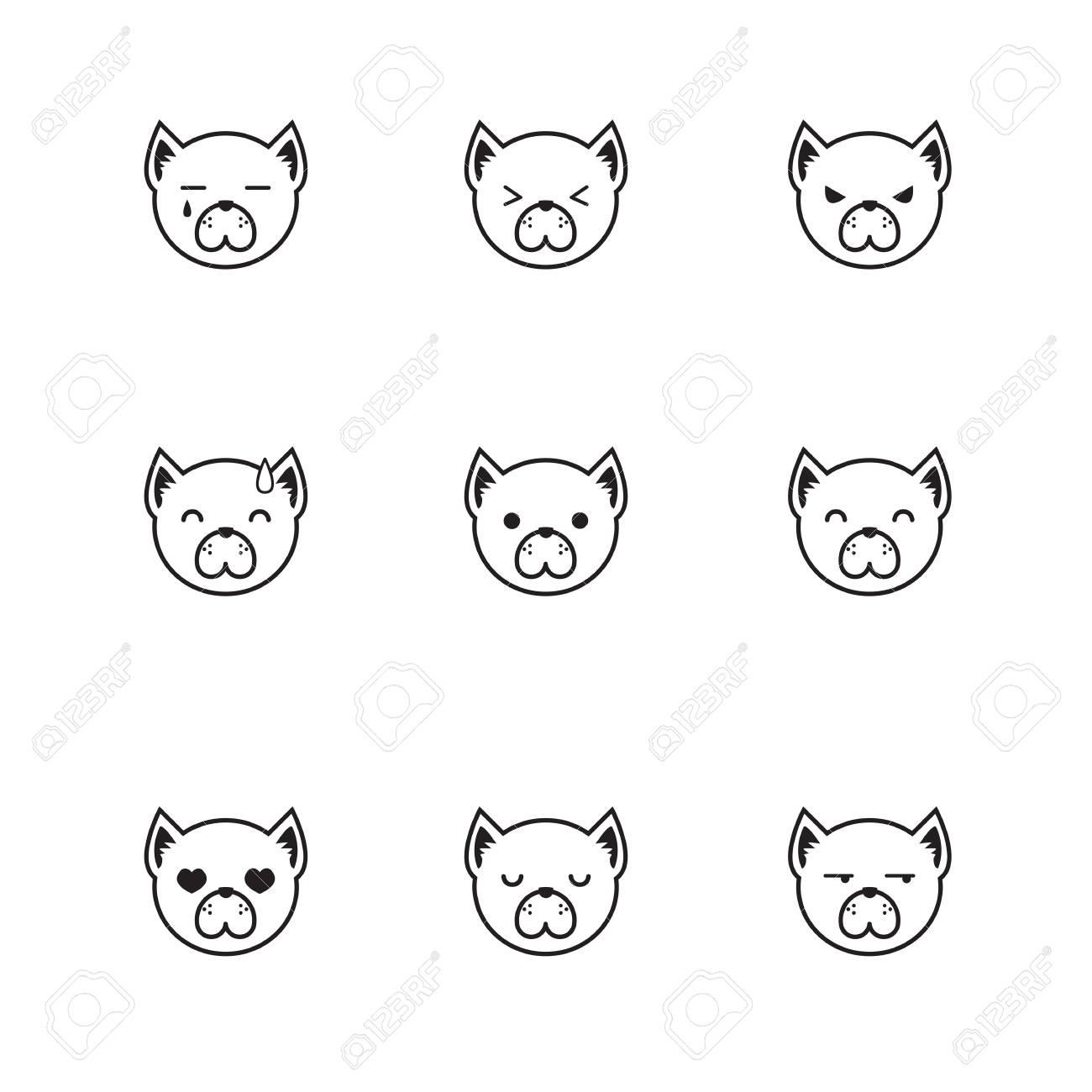 Vector Conjunto De Línea De Estilo De Las Caras De Perros De Dibujos