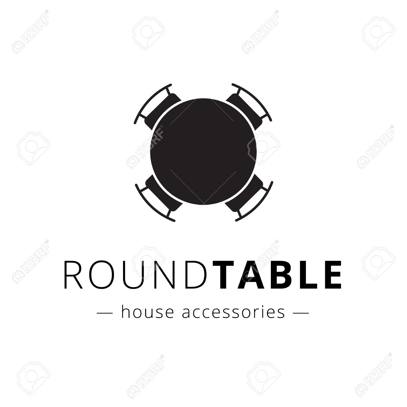Vector minimalistic black and white round table with chairs logo. Brand sign. - 48206225