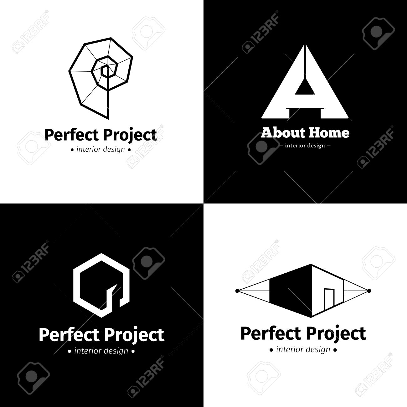 Vector Set Of Four Minimalistic Interior Design Studio Logos Black And White Creative Logotypes Stock