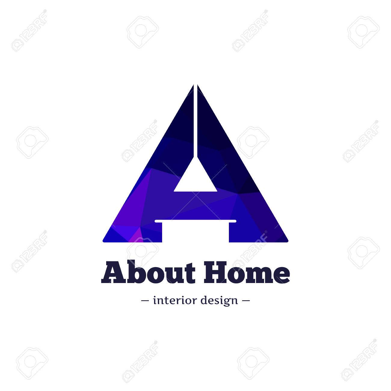 Vector Trendy Polygonal Minimalistic Negative Space Interior Design Logo. A  Letter Home Goods Brand Sign