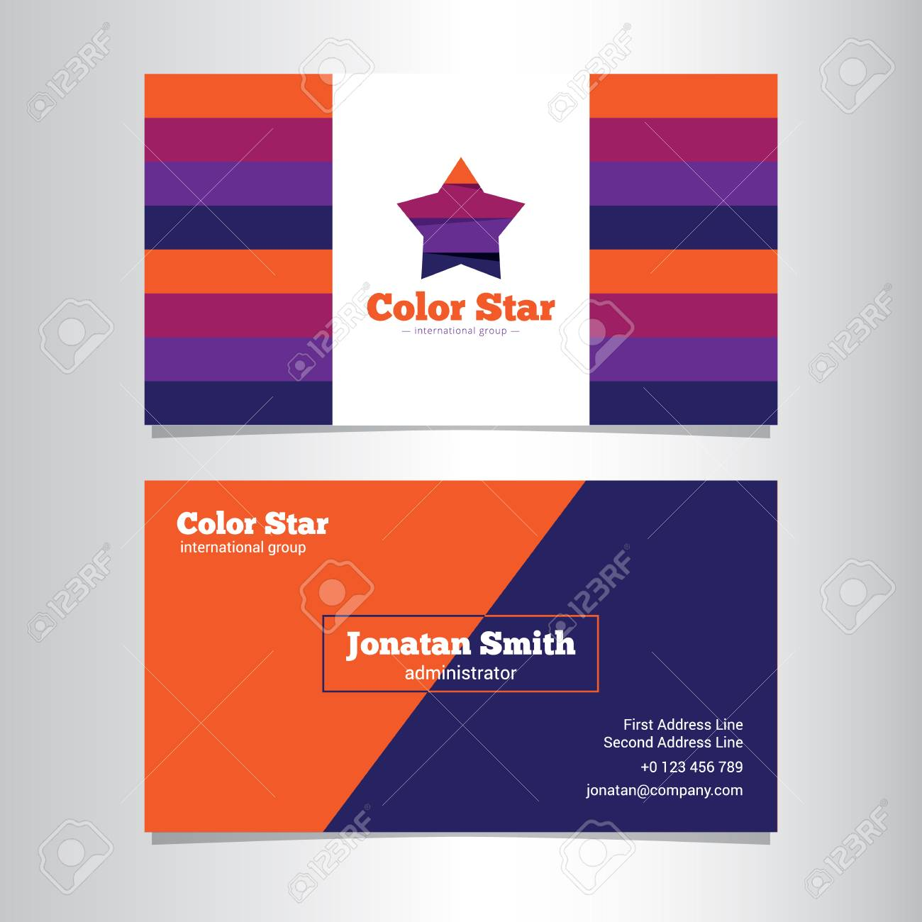 Vector Modern Bright Creative Business Card Template With Stars ...