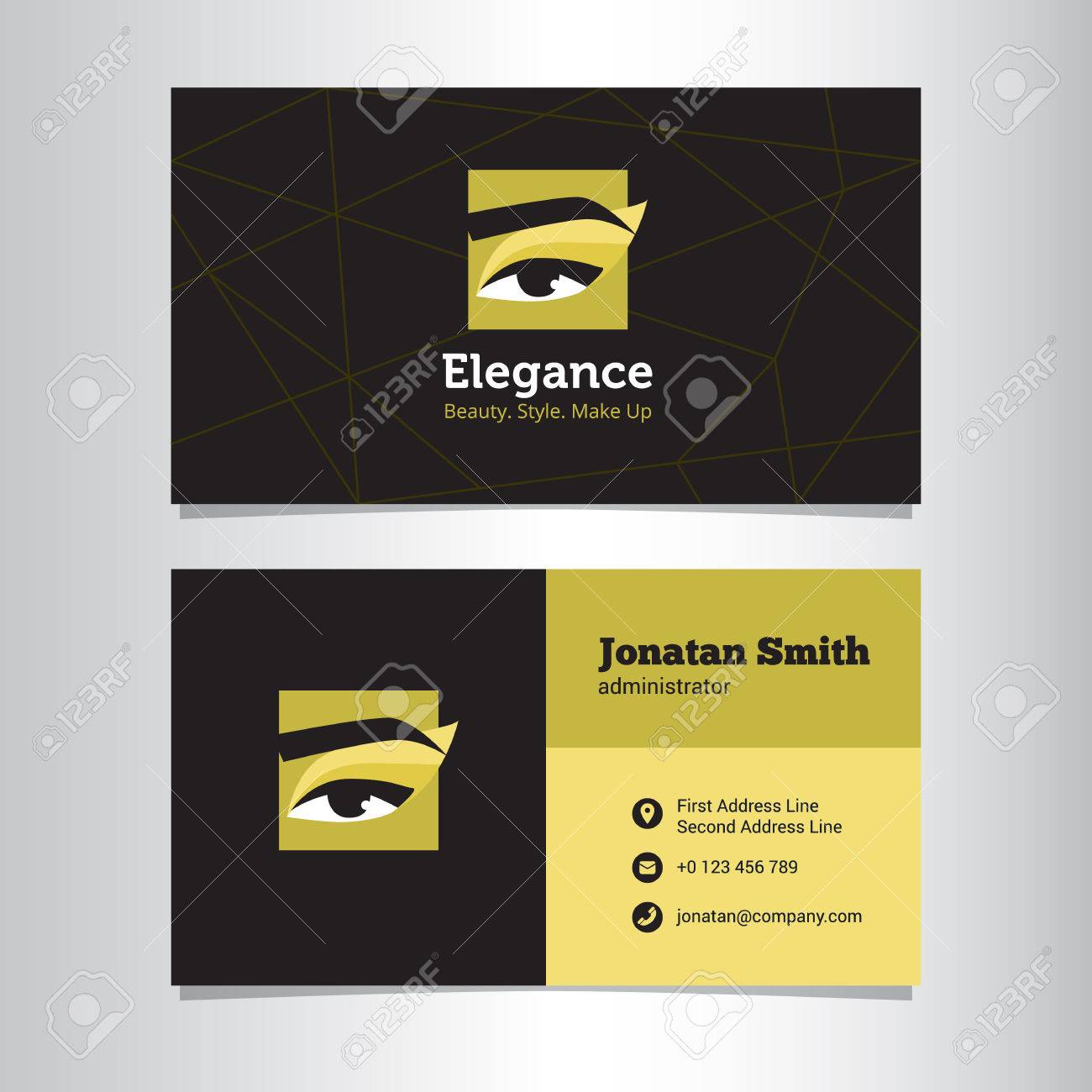 Vector Modern Business Card Template With Make Up Studio Logo ...