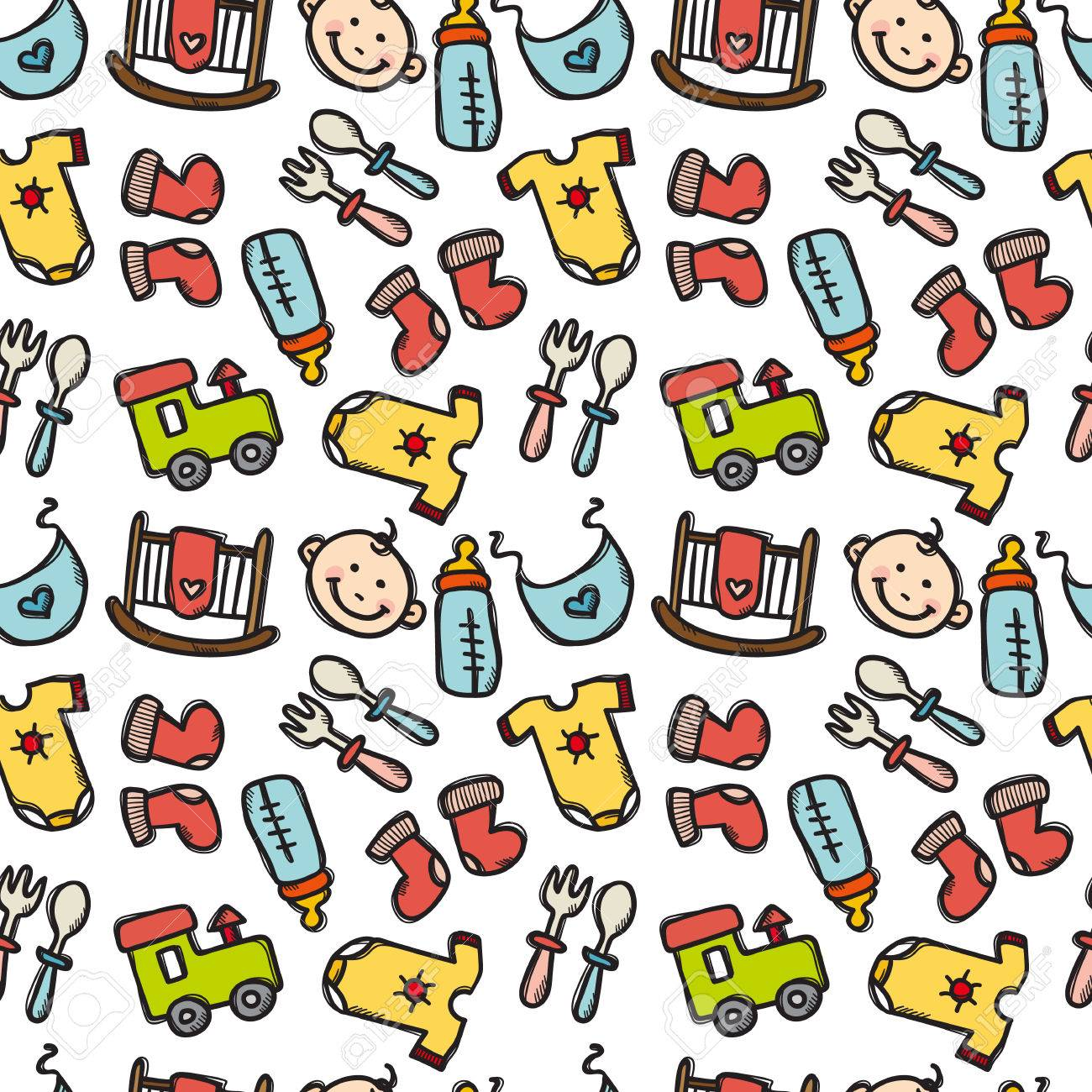 e698ab5db Seamless Pattern With Baby Objects. Newborn Clothes And Accessories ...