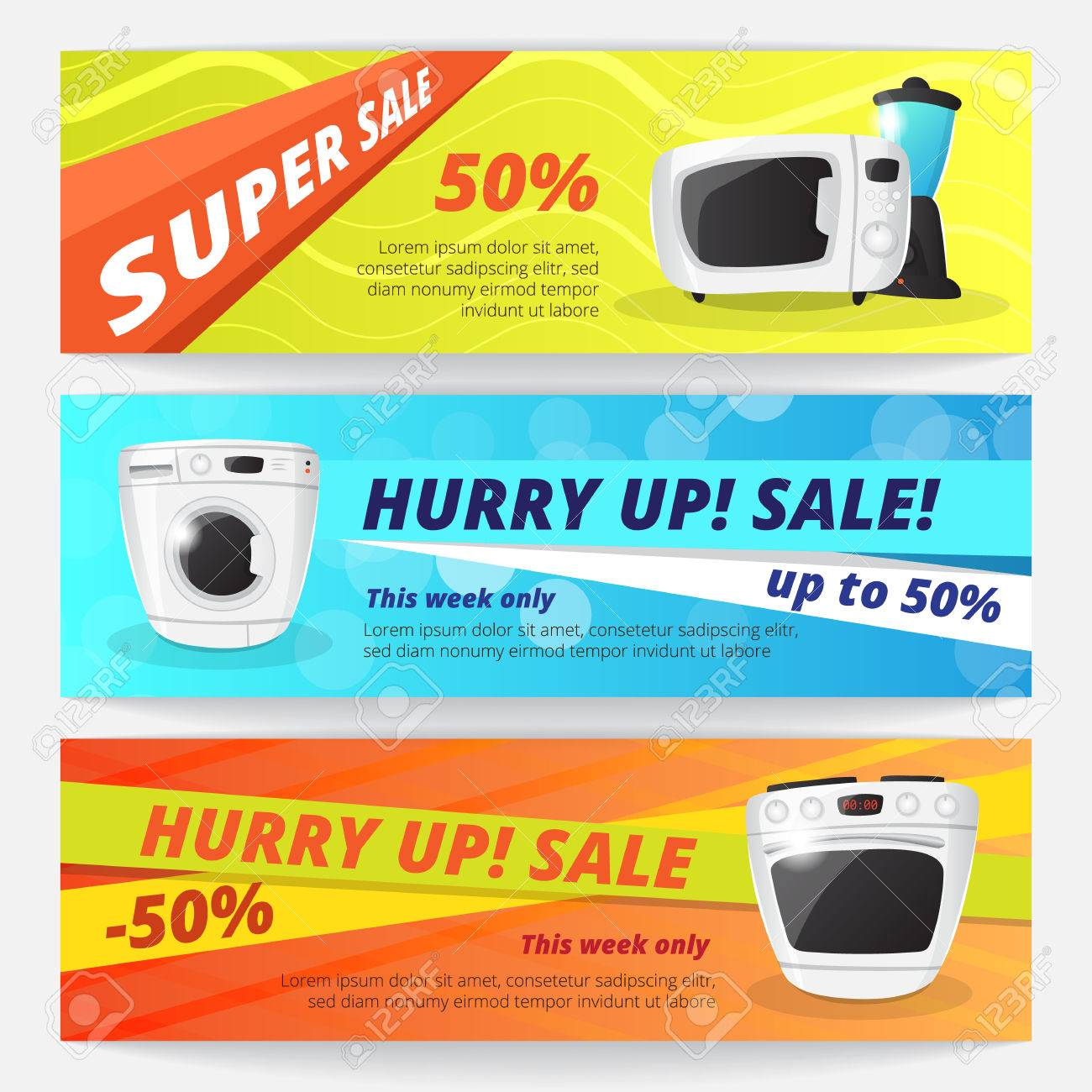 Electronics Discount Voucher Templates. Bright Sale Banners With ...